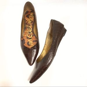 Sam Edelman leather faux snake skin pointy flats